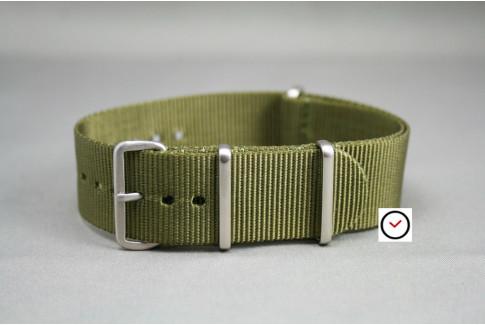 Bracelet nylon NATO Vert Olive, boucle brossée