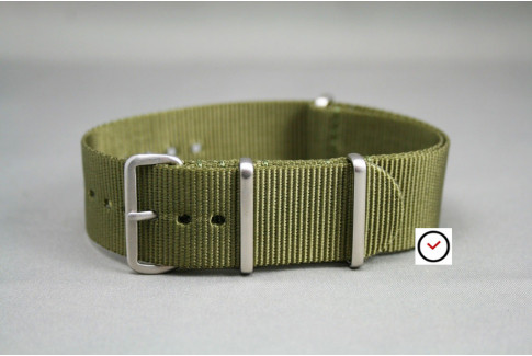 Olive Green G10 NATO strap, brushed buckle and loops