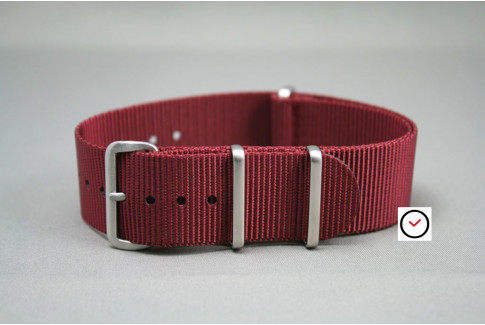 Bracelet nylon NATO Bourgogne, boucle brossée