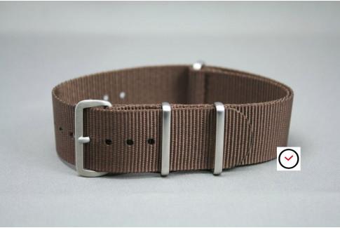Bracelet nylon NATO Marron, boucle brossée
