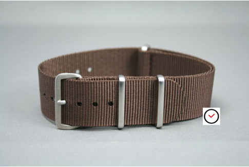 Brown G10 NATO strap, brushed buckle and loops