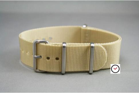 Bracelet nylon NATO Beige Sable, boucle brossée