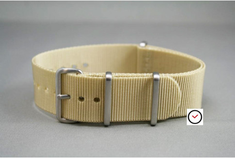 Sandy Beige G10 NATO strap, brushed buckle and loops