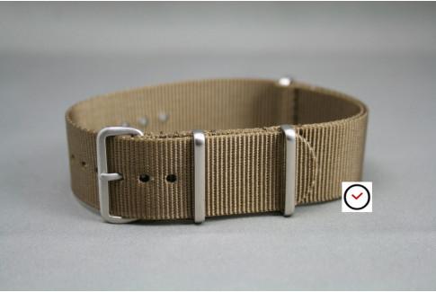Bracelet nylon NATO Marron Bronze, boucle brossée