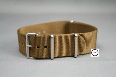 Bracelet nylon NATO Marron Or, boucle brossée