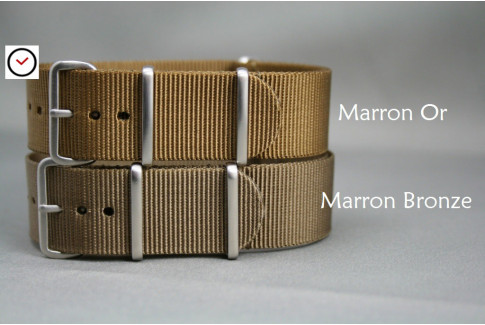 Gold Brown G10 NATO strap, brushed buckle and loops