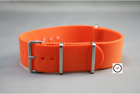 Orange G10 NATO strap, brushed buckle and loops