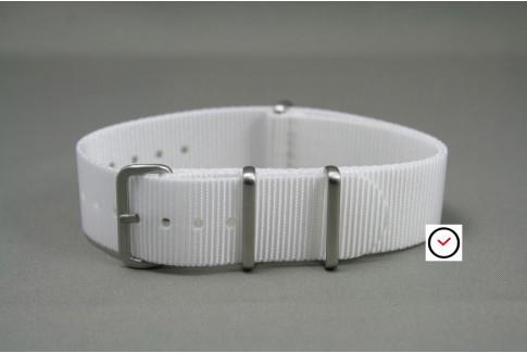 Bracelet nylon NATO Blanc, boucle brossée