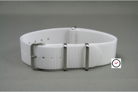 White G10 NATO strap, brushed buckle and loops