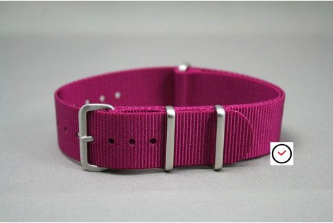 Plum G10 NATO strap, brushed buckle and loops