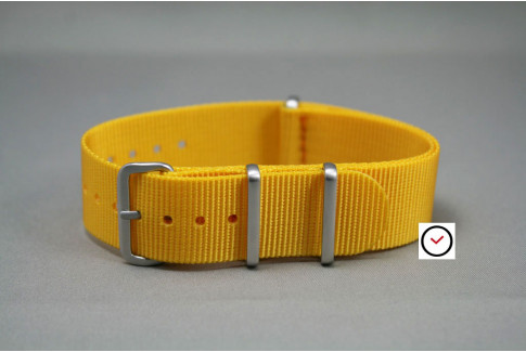 Yellow G10 NATO strap, brushed buckle and loops