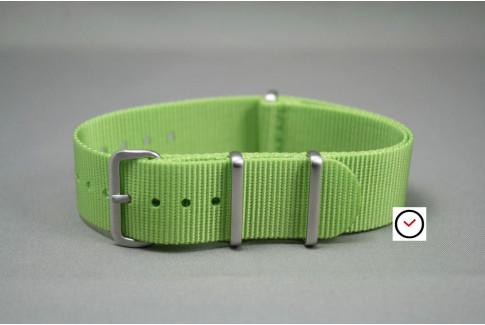 Bracelet nylon NATO Vert Anis, boucle brossée