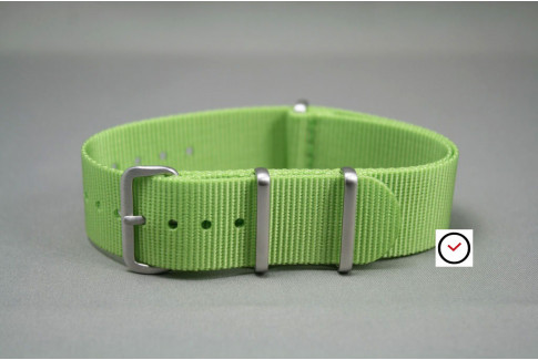 Lime-Green G10 NATO strap, brushed buckle and loops