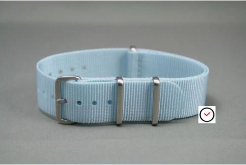 Bracelet nylon NATO Bleu clair, boucle brossée
