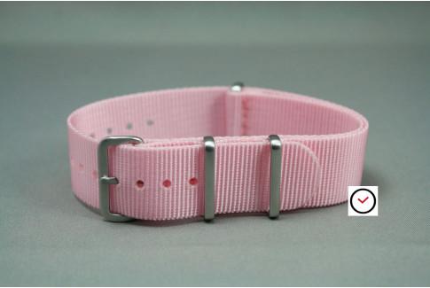 Bracelet nylon NATO Rose clair, boucle brossée