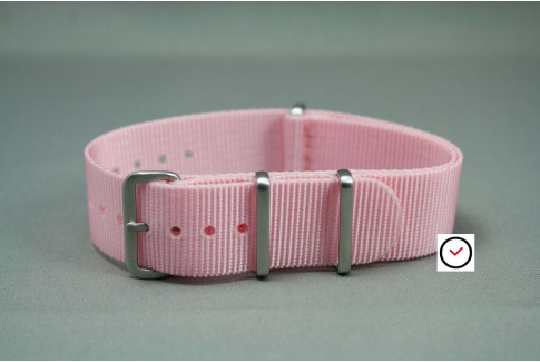 Light Pink G10 NATO strap, brushed buckle and loops