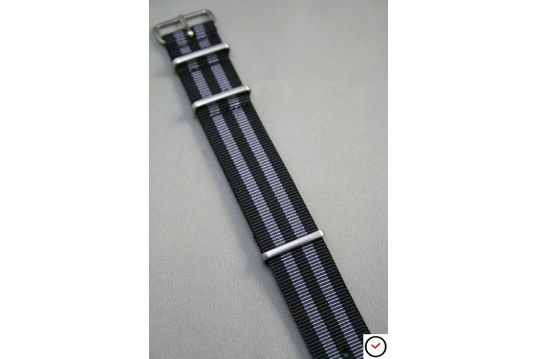 Craig Bond G10 NATO strap (Black Grey), brushed buckle and loops