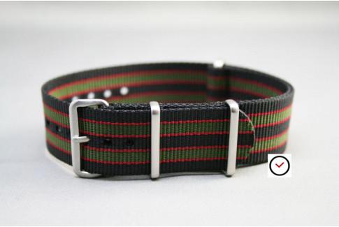 Bracelet nylon NATO Bond Original (Noir Kaki Rouge), boucle brossée