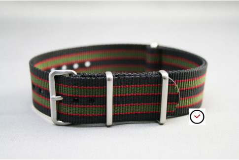 Original Bond G10 NATO strap (Black Green Red), brushed buckle and loops