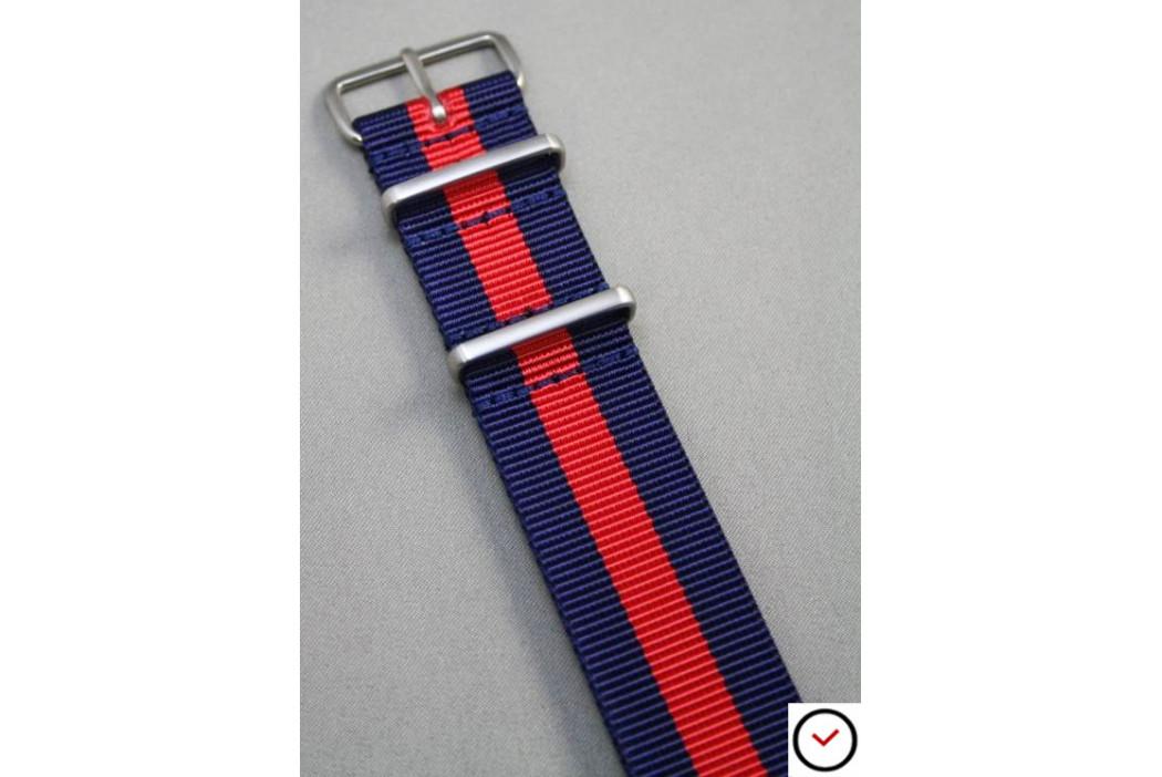 Bracelet nylon NATO Bleu Navy Rouge, boucle brossée