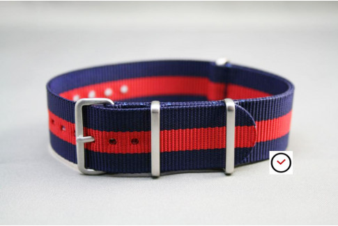 Navy Blue Red G10 NATO strap, brushed buckle and loops