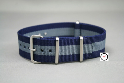 Navy Blue Grey G10 NATO strap, brushed buckle and loops