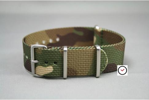 Bracelet nylon NATO Camouflage, boucle brossée