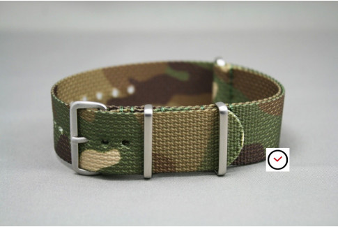 Camouflage G10 NATO strap, brushed buckle and loops
