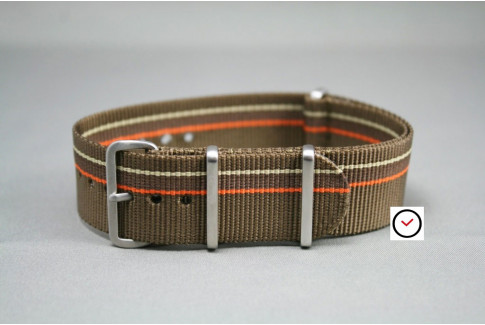 Bracelet nylon NATO Marron Bronze Chocolat & liserés Orange Beige Sable, boucle brossée
