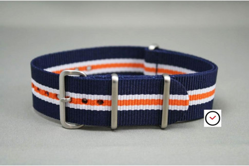 Navy Blue White Orange Heritage G10 NATO strap, brushed buckle and loops