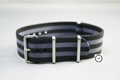 Bracelet nylon NATO Bond Craig (Noir Gris), boucle brossée