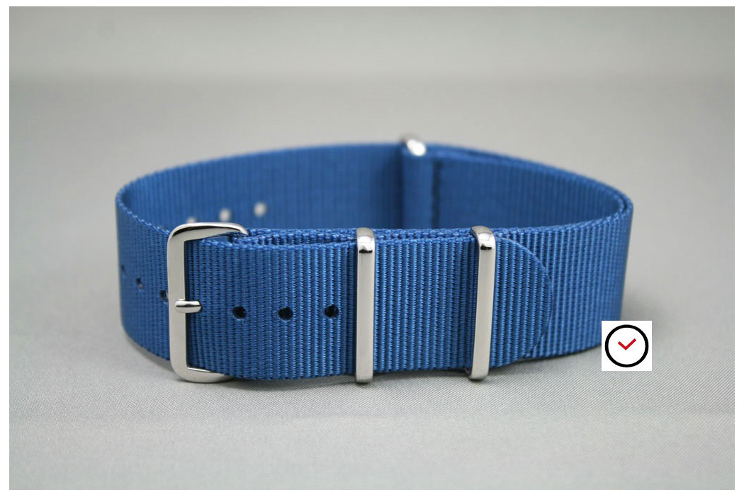 Blue G10 NATO strap, polished buckle and loops