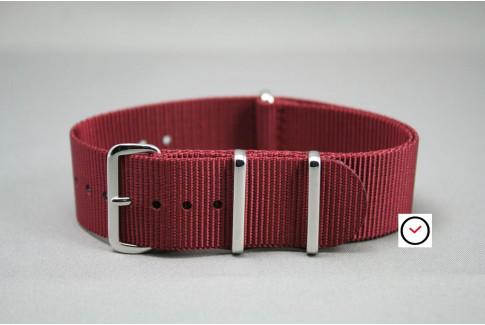 Bracelet nylon NATO Bourgogne, boucle polie