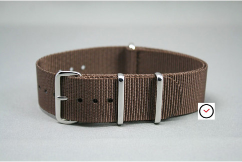 Brown G10 NATO strap, polished buckle and loops