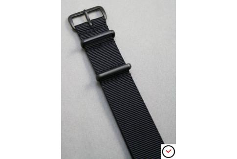 Bracelet nylon NATO Noir, boucle PVD (noire)