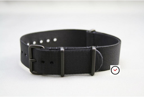 Black G10 NATO strap, PVD buckle and loops (black)