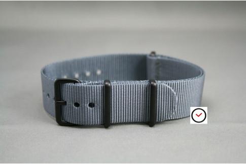 Bracelet nylon NATO Gris, boucle PVD (noire)