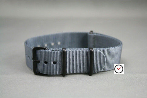 Grey G10 NATO strap, PVD buckle and loops (black)