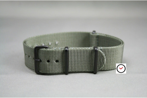 Bracelet nylon NATO Gris Vert, boucle PVD (noire)