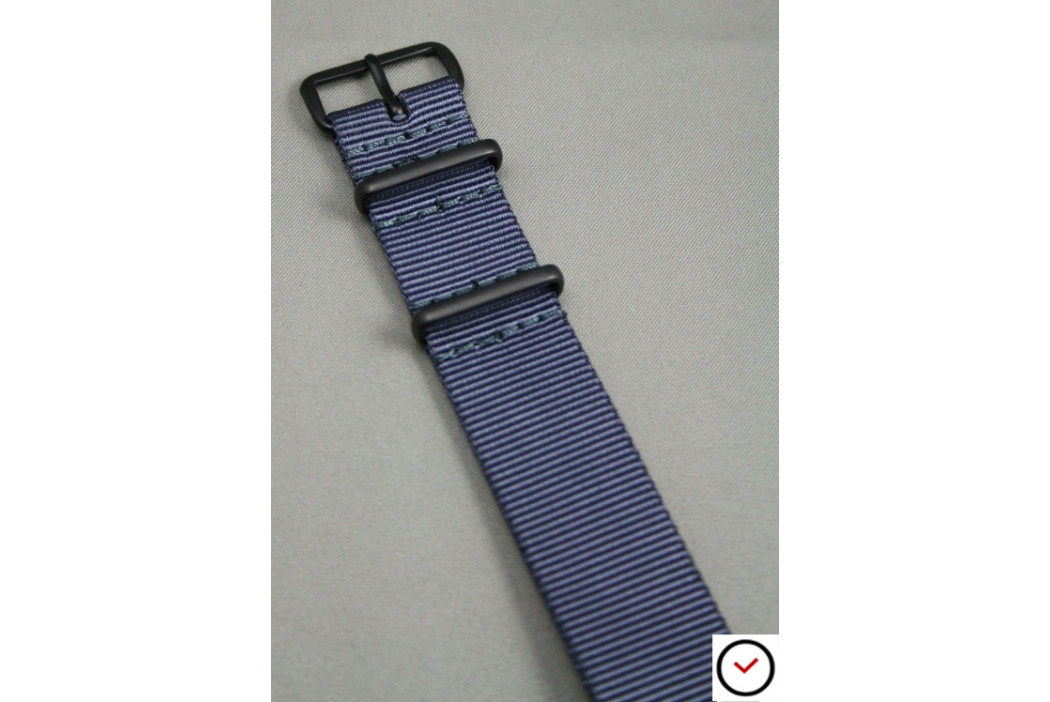 Blue Grey G10 NATO strap, PVD buckle and loops (black)