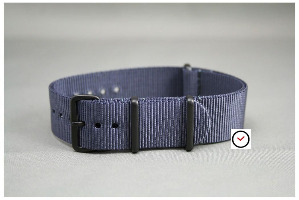 Bracelet nylon NATO Gris Bleu, boucle PVD (noire)