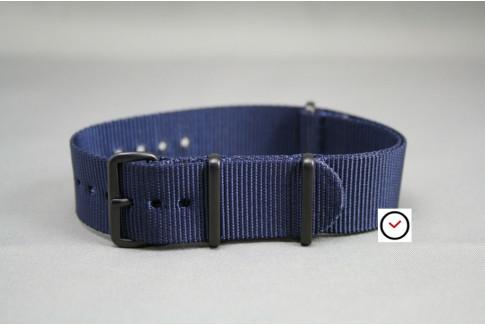 Bracelet nylon NATO Bleu Nuit, boucle PVD (noire)