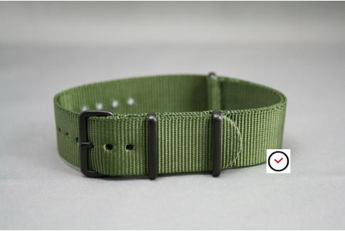 Bracelet nylon NATO Vert Kaki (Militaire), boucle PVD (noire)