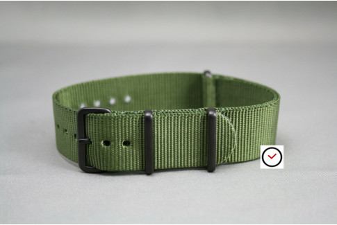 Military Green G10 NATO strap, PVD buckle and loops (black)