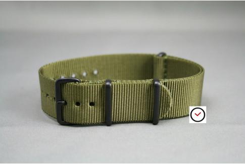 Bracelet nylon NATO Vert Olive, boucle PVD (noire)