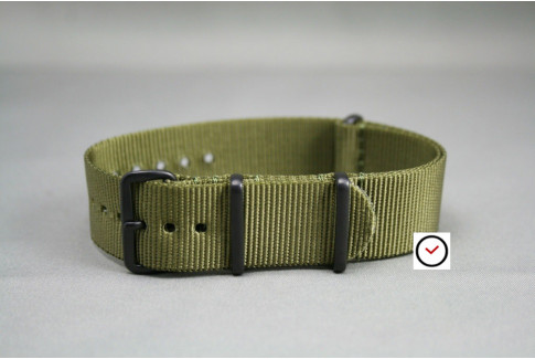 Olive Green G10 NATO strap, PVD buckle and loops (black)