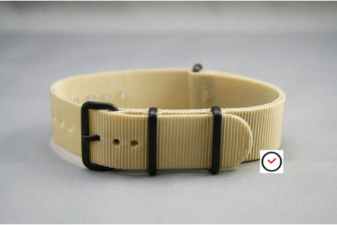 Sandy Beige G10 NATO strap, PVD buckle and loops (black)