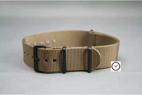 Bracelet nylon NATO Marron Bronze, boucle PVD (noire)
