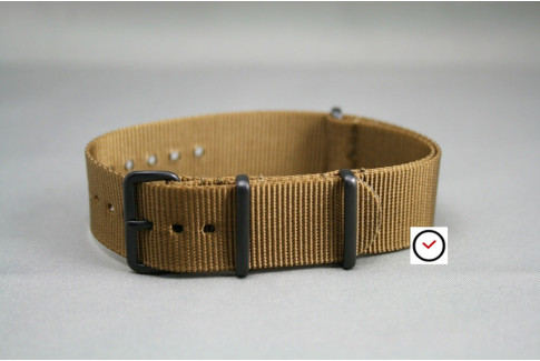 Gold Brown G10 NATO strap, PVD buckle and loops (black)