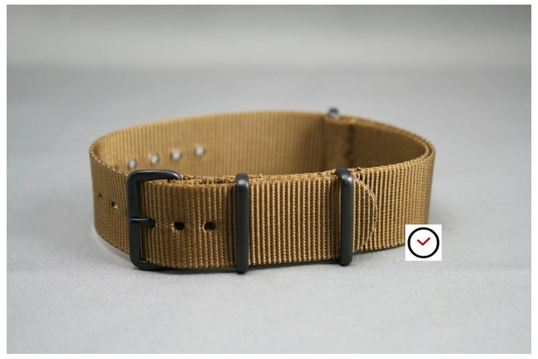Bracelet nylon NATO Marron Or, boucle PVD (noire)
